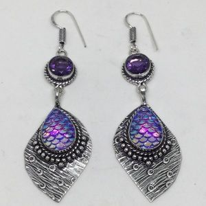 Mermaid Scale and Amethyst Silver Earrings